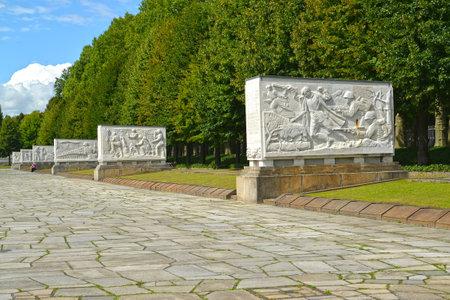 BERLIN, GERMANY - AUGUST 13, 2017: The avenue of sarcophagi of the Soviet military memorial in Treptov-park
