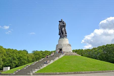 BERLIN, GERMANY - AUGUST 13, 2017: Soldier liberators sculpture in the summer afternoon. Treptov-park