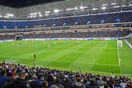KALININGRAD, RUSSIA - APRIL 11, 2018: A football match between the Baltika teams - Krylja Sovetov. Baltic Arena stadium Editorial