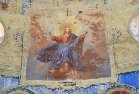 Fresco Jesus Christ. Church of the Fedorovsky icon of the Mother of God. Uglich, Yaroslavl region Banco de Imagens