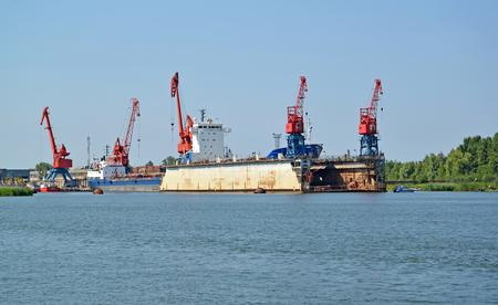 Floating ship dock in port of the city Svetlyj. Kaliningrad region Banco de Imagens