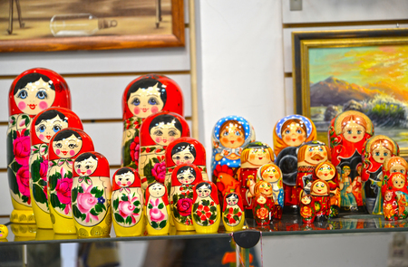 UGLICH, RUSSIA - MAY 21, 2018: Sale of nested dolls in gift shop
