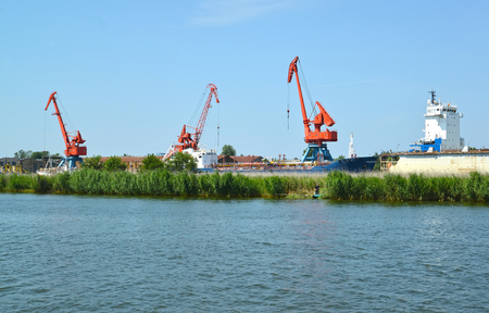 Portal cranes in seaport of the city Svetlyj. Kaliningrad region