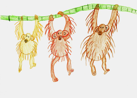 Three monkeys hang on a branch. Childrens drawing