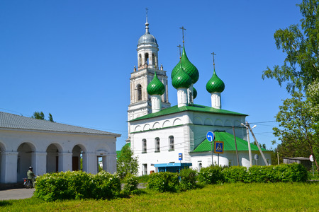 Urban view with Holy Trinity Church (1772). Poshekhonje, Yaroslavl region Stock Photo