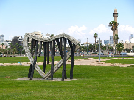 TEL AVIV, ISRAEL - OCTOBER 05, 2012: A sculpture A harp, the sea and a breeze in Charles Klors park