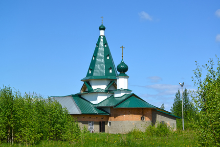 Nicholas The Wonderworkers church in summer day. Settlement of Volzhsky, Rybinsk, Yaroslavl region