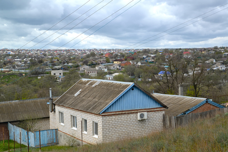 Urban view with private low houses. Elista, Kalmykia Reklamní fotografie
