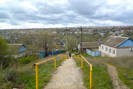View of the area of private low building. Elista, Kalmykia
