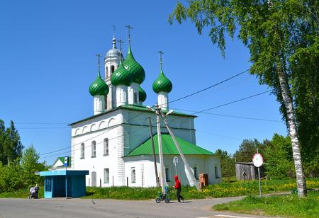Holy Trinity Cathedral (the 18th century) in summer day. Poshekhonje, Yaroslavl region
