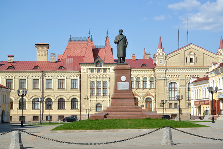 RYBINSK, RUSSIA - MAY 15, 2018: Red Square with a monument to V.I. Lenin against the background of the museum building