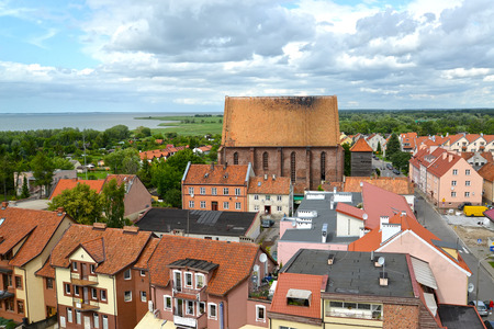 FROMBORK, POLAND - JULY 09, 2015: A view of an old church of Saint Nikolay from height of birds flight