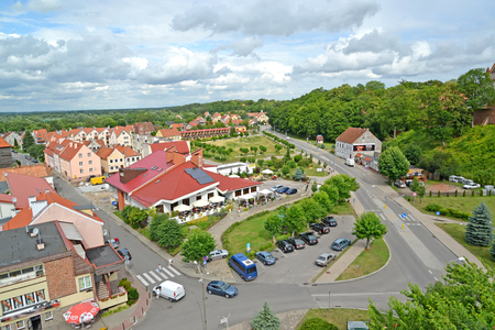 FROMBORK, POLAND - JULY 09, 2015: A city panorama from height of birds flight