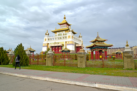 ELISTA, RUSSIA - APRIL 19, 2017: View of the temple and arbor of the Buddhist temple complex Gold Monastery of Buddha Shakyamuni. Kalmykia
