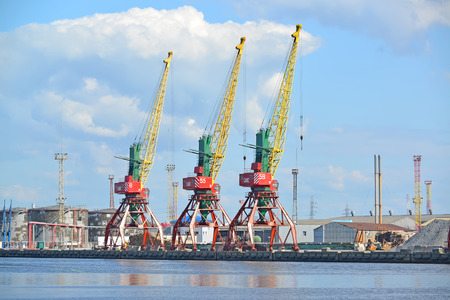 KALININGRAD, RUSSIA - MAY 03, 2015: A view of port cranes in summer day. Trade seaport