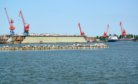 View of floating ship dock from the sea. Kaliningrad region Imagens