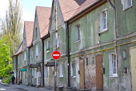 Facade of the old residential building of pre-war construction. Kaliningrad