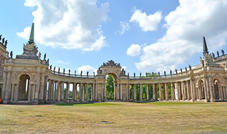 POTSDAM, GERMANY - AUGUST 14, 2017: A colonnade of the New palace in sunny day. Park of San Sushi