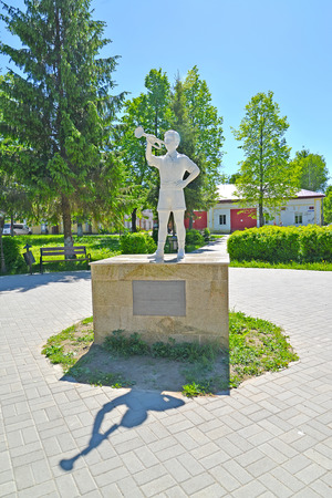 POSHEKHONJE, RUSSIA - MAY 28, 2018: The pioneer bugler's statue in Pionersky Square. Yaroslavl region
