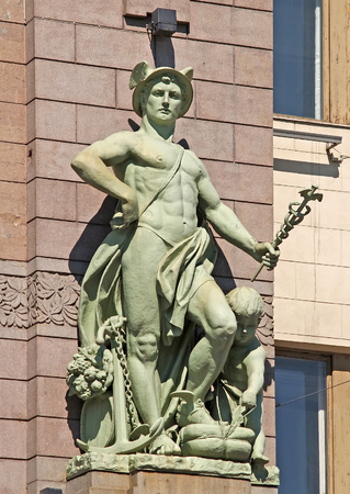 Hermess sculpture on a facade of the Academic comedy theater of N.P. Akimov. St. Petersburg Sajtókép