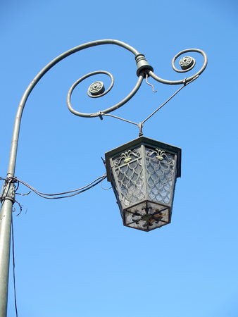 Decorative lamp against the background of the blue sky. St. Petersburg Stock Photo