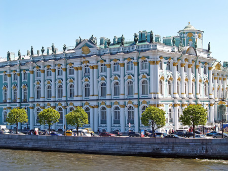 ST. PETERSBURG, RUSSIA - JUNE 07, 2008: The building of the Winter Palace in summer day