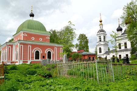 View of church in honor of the great martyr Georges the Victorious (1885) and church in honor of Ascension (1811). Rybinsk, Yaroslavl region