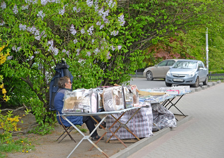 KALININGRAD, RUSSIA - MAY 08, 2019: The forbidden trade in goods on the city street