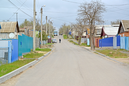 Ilishkin Street in the spring afternoon. Elista, Kalmykia