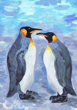 Two penguins look at each other. Children's drawing Stock Photo