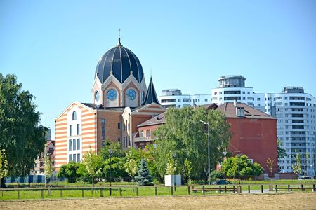 The restored New Liberal synagogue and the former Jewish orphanage. Kaliningrad Stock Photo