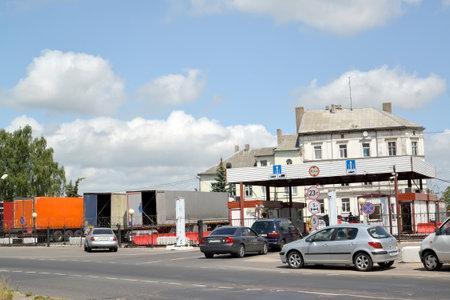 SOVETSK, RUSSIA - JULY 01, 2019: Cars on boundary transition. Russian-Lithuanian border. Kaliningrad region