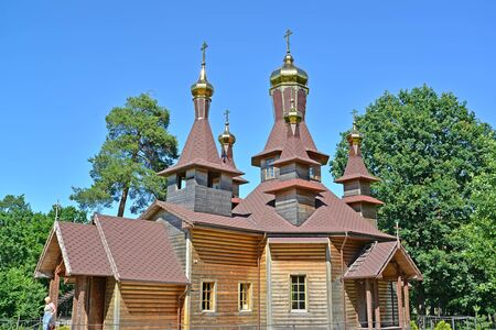 SLAVSK, RUSSIA - JUNE 22, 2019: The wooden temple in honor of St. Righteous John of Kronstadt. Kaliningrad region