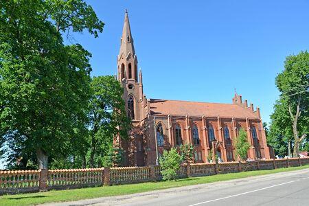 Haynrikhsvalde's Lutheran church (1869) in summer day. Slavsk, Kaliningrad region