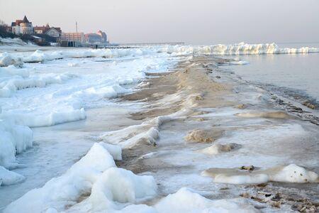 The city beach is snowy in winter. Zelenohrad, Kaliningrad region