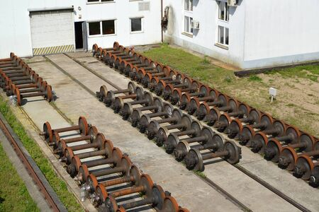 Wagon wheelsets at the railway depot