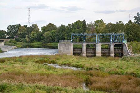 Krasnoznamenskaya HPP on the Sheshupe River. Krasnoznamensk, Kaliningrad region