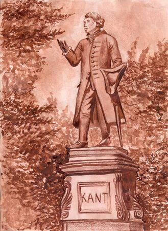 Monumento a Immanuel Kant en Kaliningrado. Dibujo infantil, técnica mixta Foto de archivo