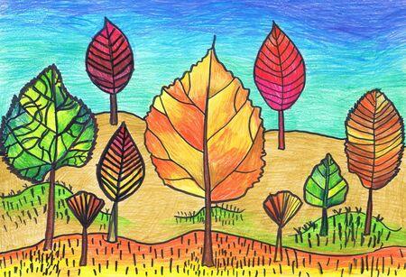 Árboles en forma de hojas de otoño. Dibujo infantil, técnica mixta Foto de archivo