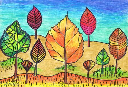 Trees in the form of autumn leaves. Children's drawing, mixed media Zdjęcie Seryjne