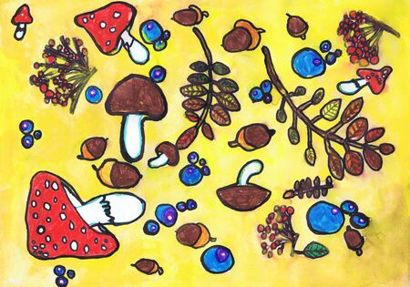 Print fabric on a yellow background. Childrens drawing, mixed media