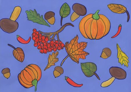 Print fabric with pumpkins, mushrooms, leaves. Childrens drawing, mixed media