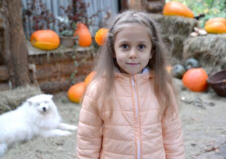 Portrait of a little girl in the yard of a rural house against the background of pumpkin. Autumn Harvest