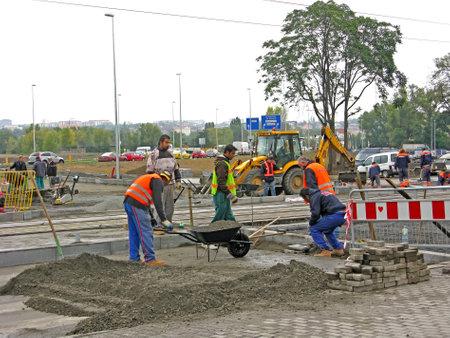 PRAGUE, CZECH REPUBLIC - FEBRUARY 06, 2007: Gastarbeiters on road construction