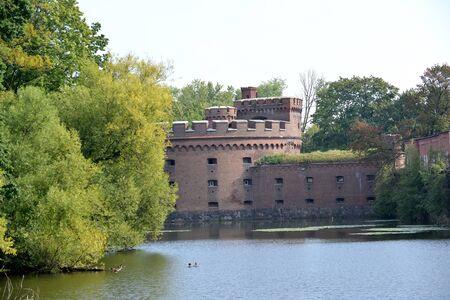 Tower of Der Wrangel (Wrangel Tower) on the bank of the Top lake, XIX century. Kaliningrad Stock fotó