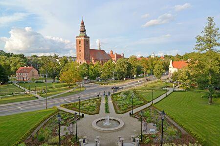 Central part of Lidzbark-Varminsky city, view from above. Poland