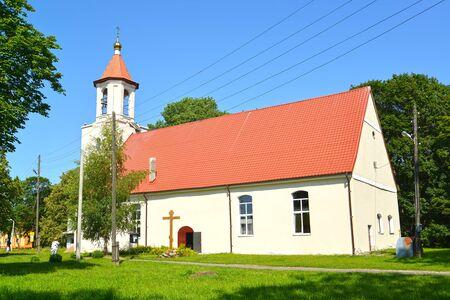 A view of the temple of Saints of Equal Apostle Cyril and Methodius. Village of Bolshakovo, Kaliningrad region Stock fotó