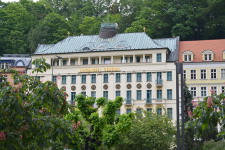 KARLOVY VARY, CZECH REPUBLIC - MAY 27, 2014: Interhotel Central hotel in summer day