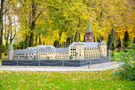KALININGRAD, RUSSIA - OCTOBER 19, 2019: General view of the layout Royal Kenigsberg Castle in South Park. Miniature Park History in Architecture
