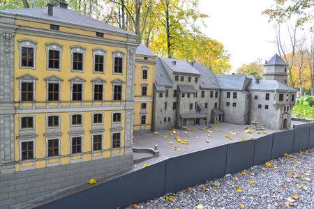 KALININGRAD, RUSSIA - OCTOBER 19, 2019: A fragment of layout Royal Kenigsberg Castle in South Park. Miniature Park History in Architecture Sajtókép